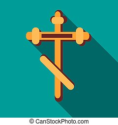 Orthodox cross icon in flat style
