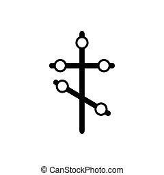 Orthodox cross icon in simple style