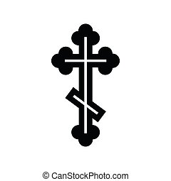 Orthodox cross icon, simple style