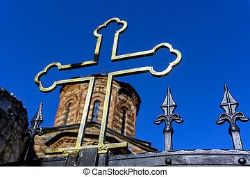Orthodox Cross of the Gracanica Serbian Orthodox Monastery in Kosovo