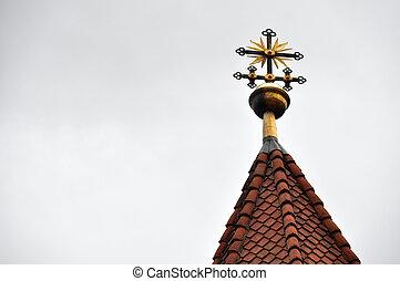 Orthodox cross on the sky