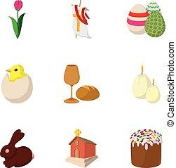 Orthodox Easter icons set, cartoon style