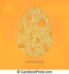 Orthodox Easter Line Icons Set Egg Shape