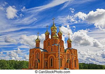 orthodox, himmelsgewölbe, gegen, hintergrund, majestätisch, kathedrale