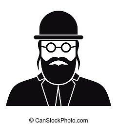 Orthodox jew icon, simple style