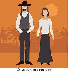 Orthodox jew, man and woman. Flat judaism traditonal religious character