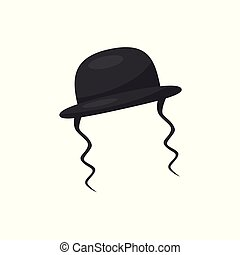 Orthodox jewish hat with sidelocks, vector Illustration on a...