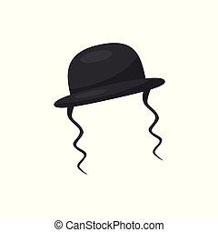 Orthodox jewish hat with sidelocks, vector Illustration on a...