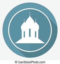 orthodox, kathedraal, kerk, op wit, cirkel, met, een, lang, schaduw