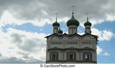 Orthodox monastery with domes and crosses