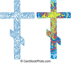 Orthodox ornamented cross for Easter. Natural ornaments, flowers, leaves, patterns. Colored lights.