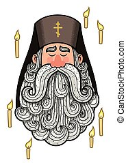 Cartoon portrait of orthodox priest.