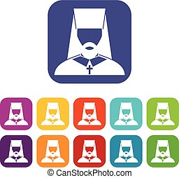 Orthodox priest icons set