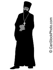 Orthodox priest - Silhouette of an Orthodox priest on white...
