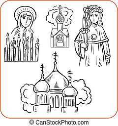 orthodox, religion, -, vektor, illustration.