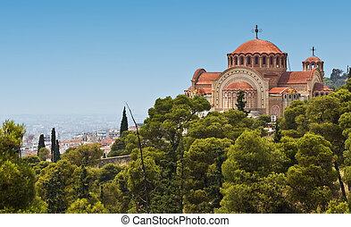orthodox templom, közül, szent, pavlo, -ban, thessaloniki, görögország