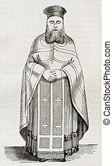 Orthodox vestment quater - Old illustration of Greek...