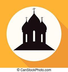 orthodoxe, blanc, long, église, cathédrale, ombre, cercle
