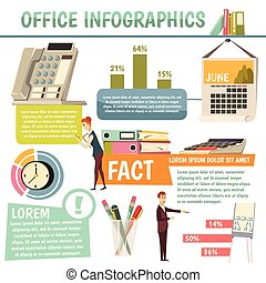 orthogonal, kantoor, infographics