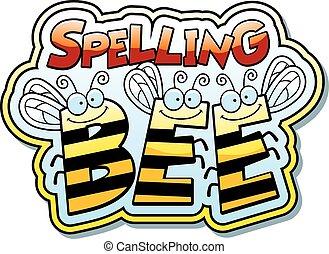 orthographe, dessin animé, abeille