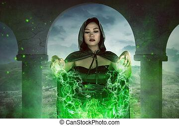 orthographe, femme, sorcière, asiatique, concentration
