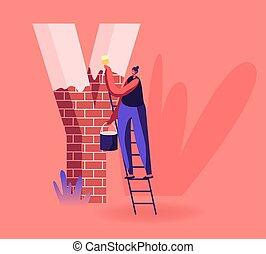 orthographe, plat, sourire, remercier, police, peinture, énorme, bricks., stand, femme, rouges, tenue, illustration, peinture, sortilège, échelle, mot, y, dessin animé, brosse, seau, vecteur, heureux, education, vous, fait, lettre