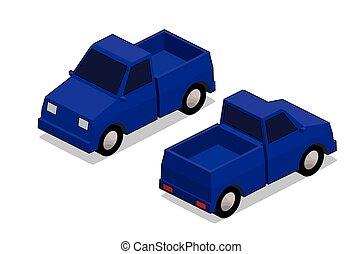 orthographic, azul, caminhão
