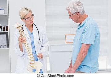 orthopädisch, doktor, erklären, anatomisch, rückgrat, zu, älterer mann