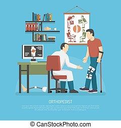 orthopédie, concept, conception