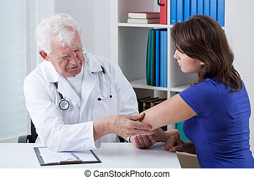 orthopaedist, diagnosticar, doloroso, cotovelo