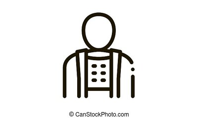 Orthopedic Belt For Spine Back Support animated black icon on white background