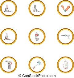 Orthopedic disease icons set, cartoon style