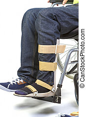 Orthopedic equipment for wheelchair - Orthopedist puts...