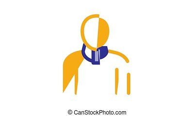 Orthopedic Elements Icon Animation Orthopedic And Trauma Rehabilitation, Cervical Collar And Walkers Concept Pictograms. Medical Rehab Goods