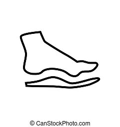 Orthopedic insoles isolated on white background - Bare foot...