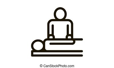 Orthopedic Masseur With Patient Silhouette animated black icon on white background