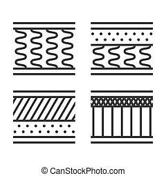 Orthopedic Mattress Types Icon Set on White Background....