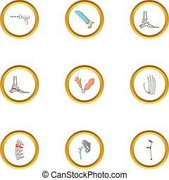 Orthopedic surgery icons set, cartoon style