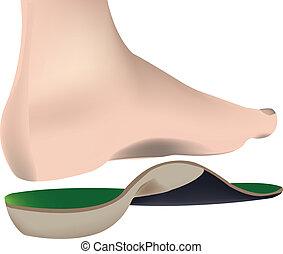 orthopedics - bare human foot with sockliner