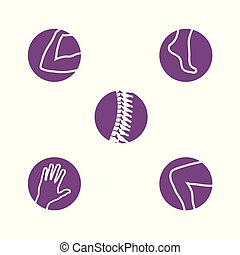 Orthopedics Bone Sports Injury Icons Set of orthopedics icons with Spine, knee, hand, foot, and arm icon set