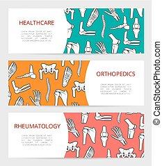 orthopedics, rheumatology, 旗, 医院, テンプレート