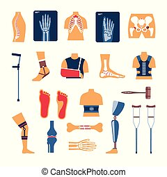 Orthopedics surgery medicine vector icons - Orthopedics...