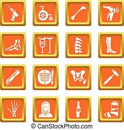 Orthopedist bone tools icons set orange square vector