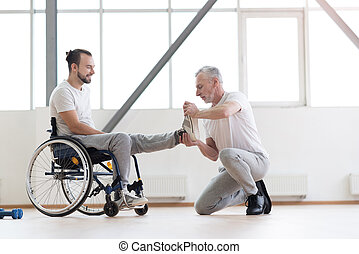 orthopedist, fonctionnement, gymnase, handicapé, patient, vieilli