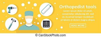 orthopedist, herramientas, horizontal, concepto, bandera