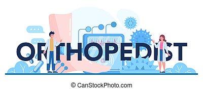 orthopedist, idea conjunta, header., doctor, tipográfico, hueso