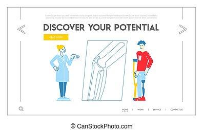 orthopedist, o, prótesis, orthopedy, hospital., muletas, hospital, lineal, estante, pierna, template., aterrizaje, página, cita, hombre, gente, inválido, carácter, visitar, doctor, clínica, ilustración, vector