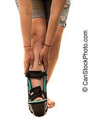 orthosis, krop rolle, kvinde, fod