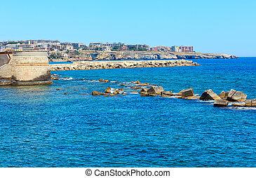 Ortigia coast, Syracuse, Sicily, Italy. - Coast of Ortigia...