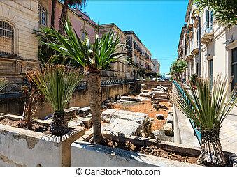 Ortigia, Syracuse, Sicily, Italy. - Ortigia island street...